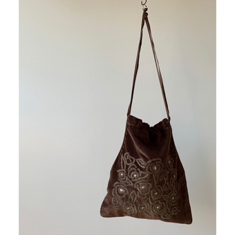 khadi and co velvet embroidered bag