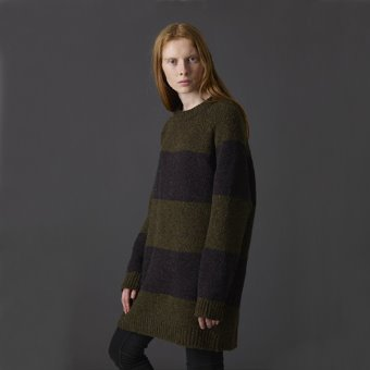 oversize stripe jumper(pine shadow&charcoal)