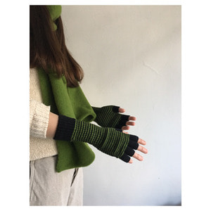 Fine Stripe Fingerless Gloves(black&palm)