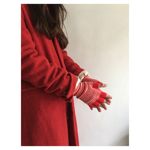 Fine Stripe Fingerless Gloves(scarlet&oatmeal))