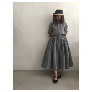 R&D.M.Co- linen gather skirt (chambray)