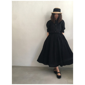 R&D.M.Co- linen gather skirt (black)