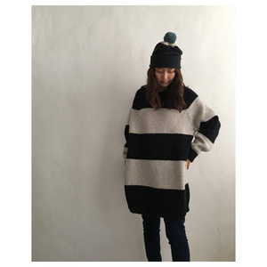 oversize stripe jumper(charcoal&putty)