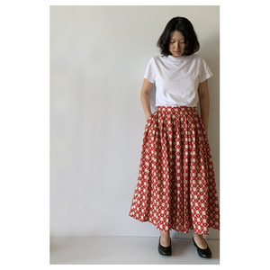 R&D.M.Co- linen motif print wide pants