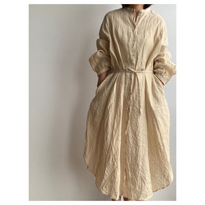 R&D.M.Co- linen gather sleeve dress(antique white)