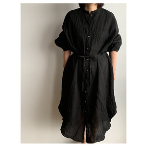 R&D.M.Co- linen gather sleeve dress(black)