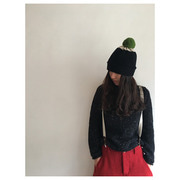 Top Spot Hat Plain Pompom(black&oatmeal)
