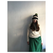 Stripe Pompom Hat(black&oatmeal)