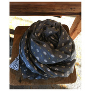 R&D.M.Co- motif print silk cotton stole(gray) 30%