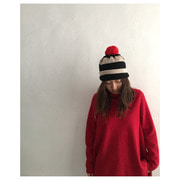 strip Pompom hat(balck&oatmeal)
