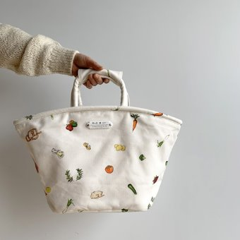 R&D.M.Co-  harvest festival marche bag(white)