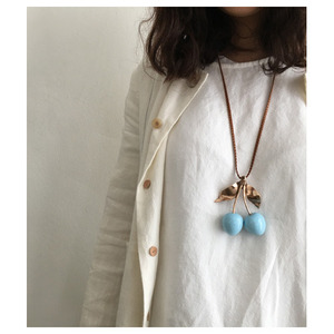hand made necklace cherry(light blue)